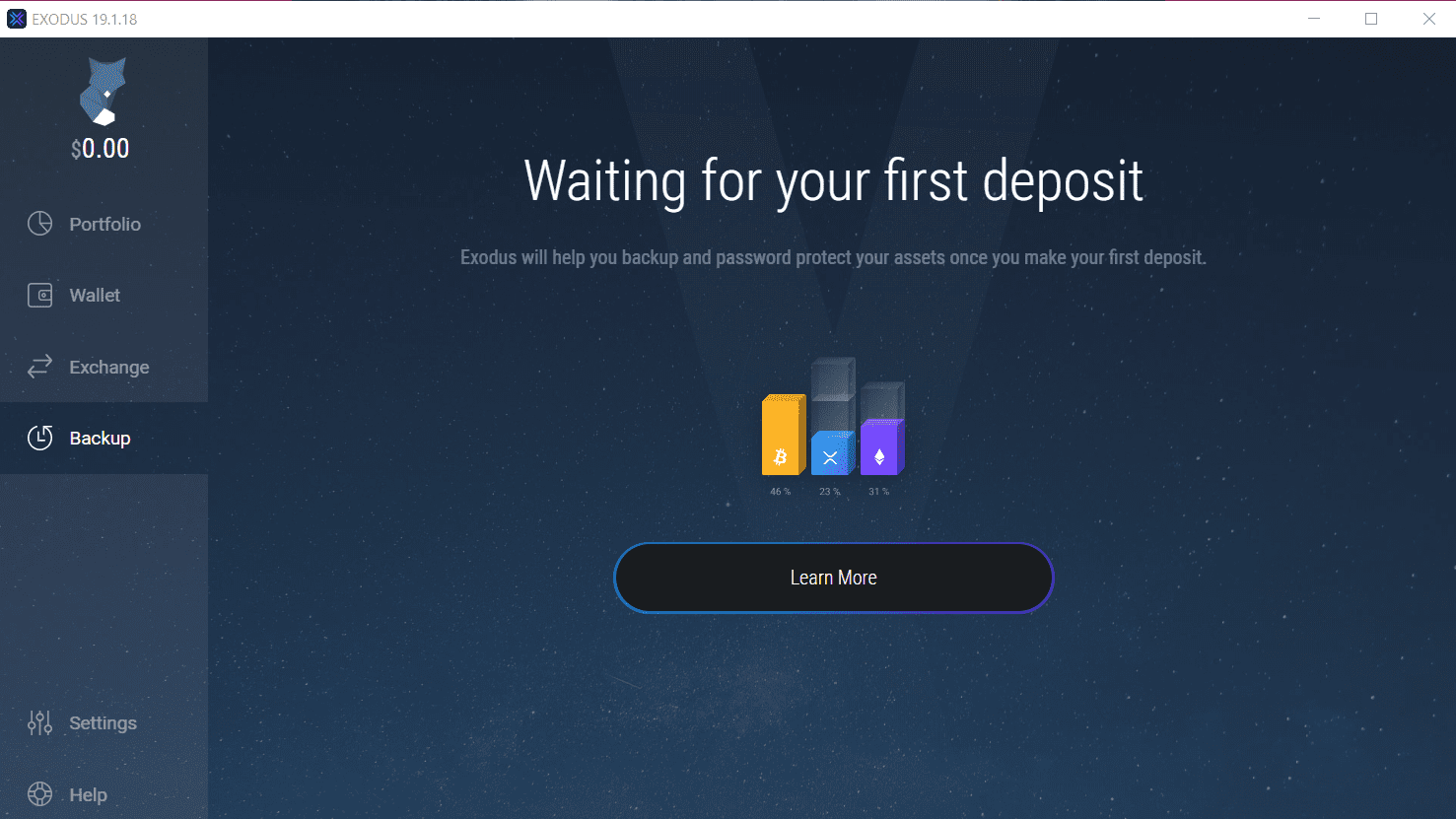 Exodus Wallet First Backup