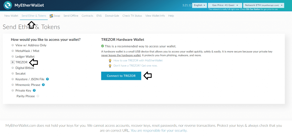 Conecting your Trezor to MyEtherWallet