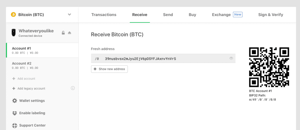 find wallet address on trezor one