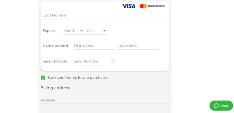 """Image showing the button to access the Simplex chat help when using BitPrime's """"buy crypto with credit card"""" option"""