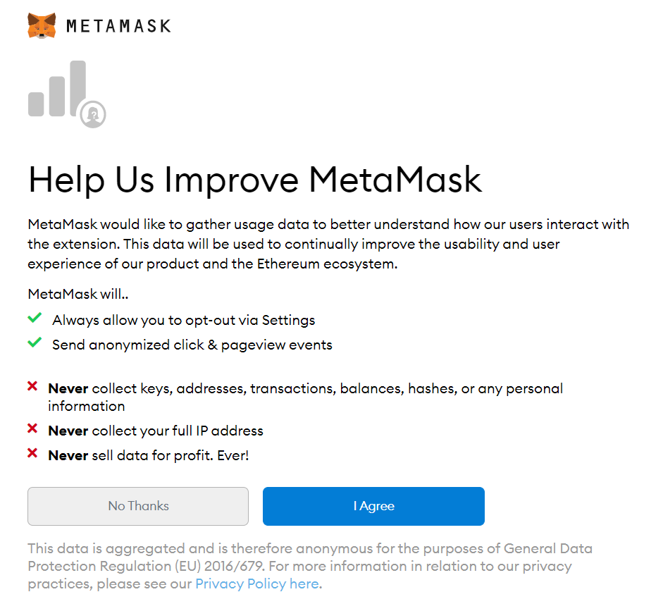 opt in or out of improving metamask